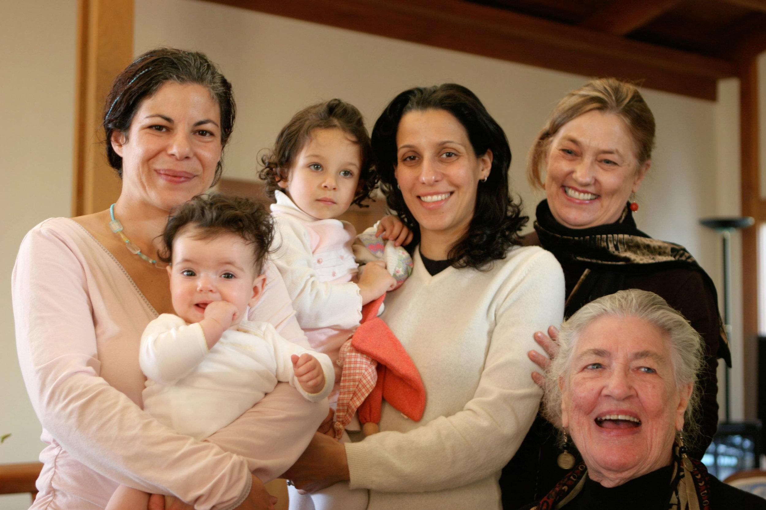 Tash with Zahra Mahloudji, Leili Javid, their babies, and Eliza