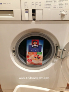oatmeal box in washer