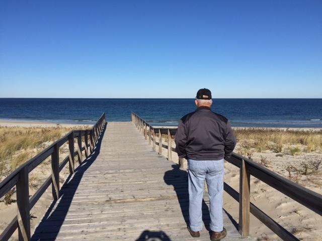 Dad on boardwalk