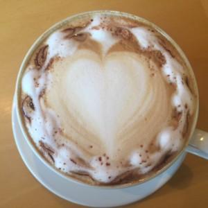 mocha latte heart