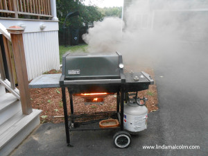 Grill on fire