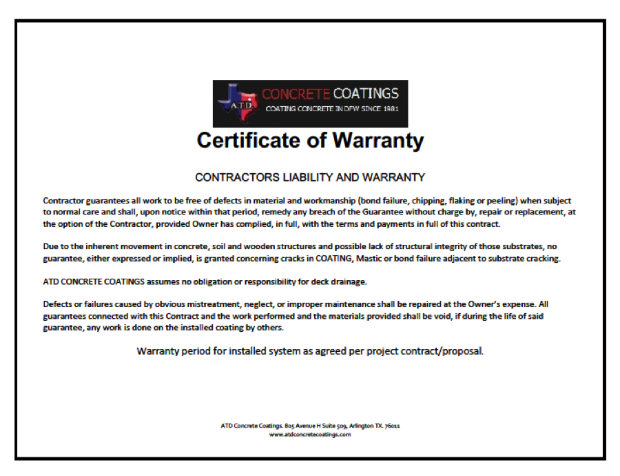 Contractors Certificate of Warranty