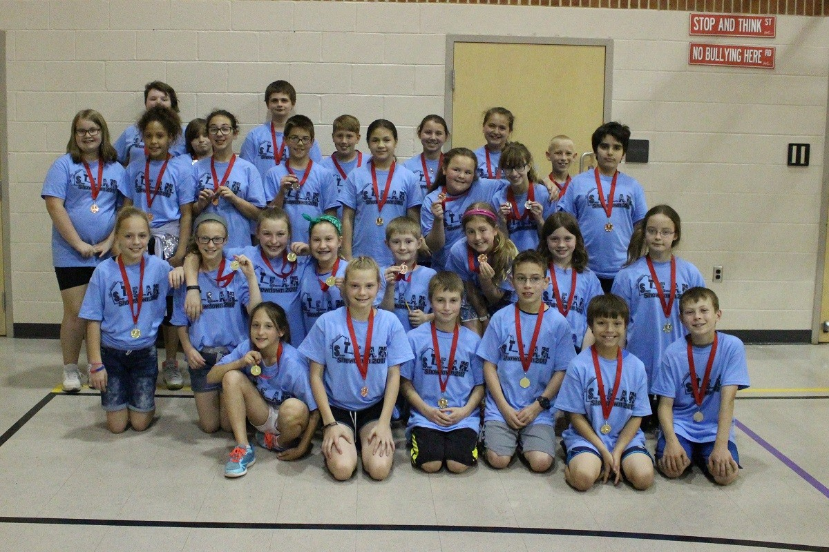 Students who participated in the STEM Showdown at Leib Elementary School in Dover, Pennsylvania. Students competed in one of three STEM-related events in the area of aerodynamics, buoyancy, and engineering. Photo used with permission.