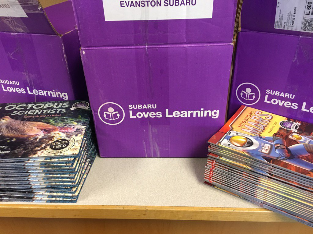 Subaru Loves Learning Books being dropped off at Oliver McCracken Middle School. Photo used with permission.