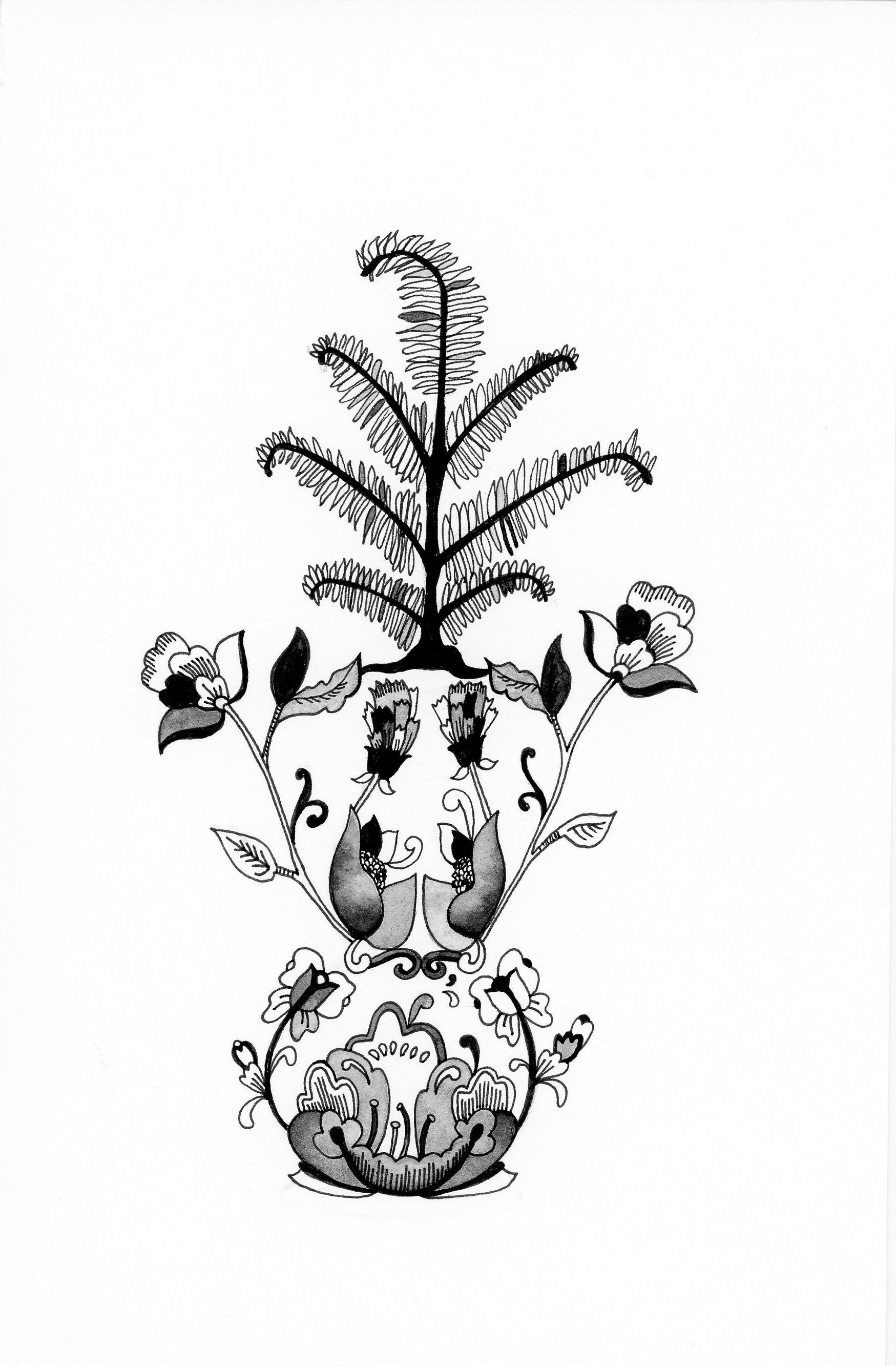 Fern Vase  6X9 inches, pen on paper
