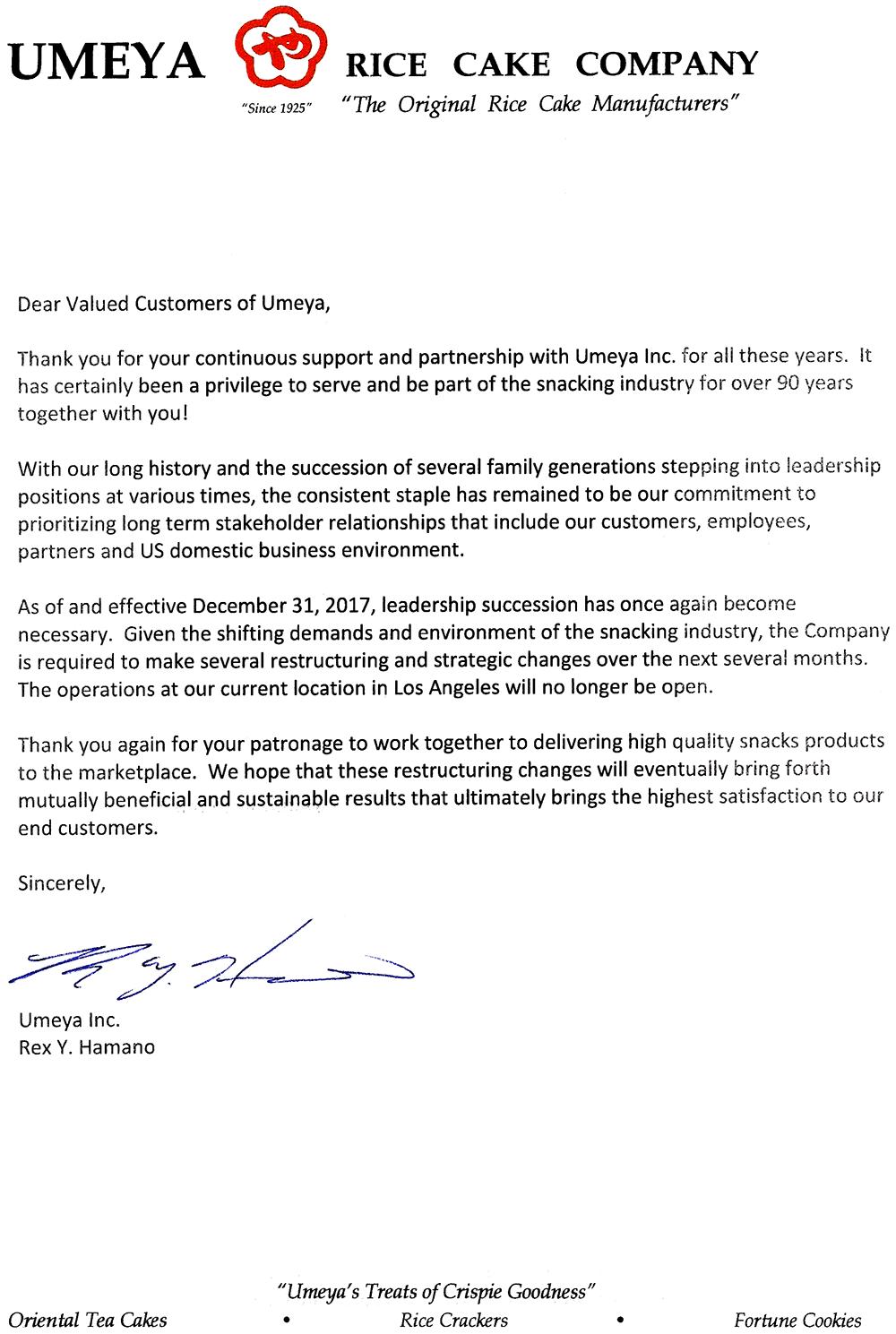 Umeya Restructing Letter.png