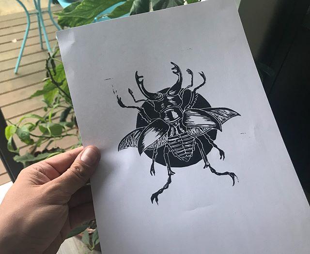 Stag beetle print test. - -  #linocut #lino #illustration #reliefprint #maker #print #printmaker #stagbeetle #beetle #BW
