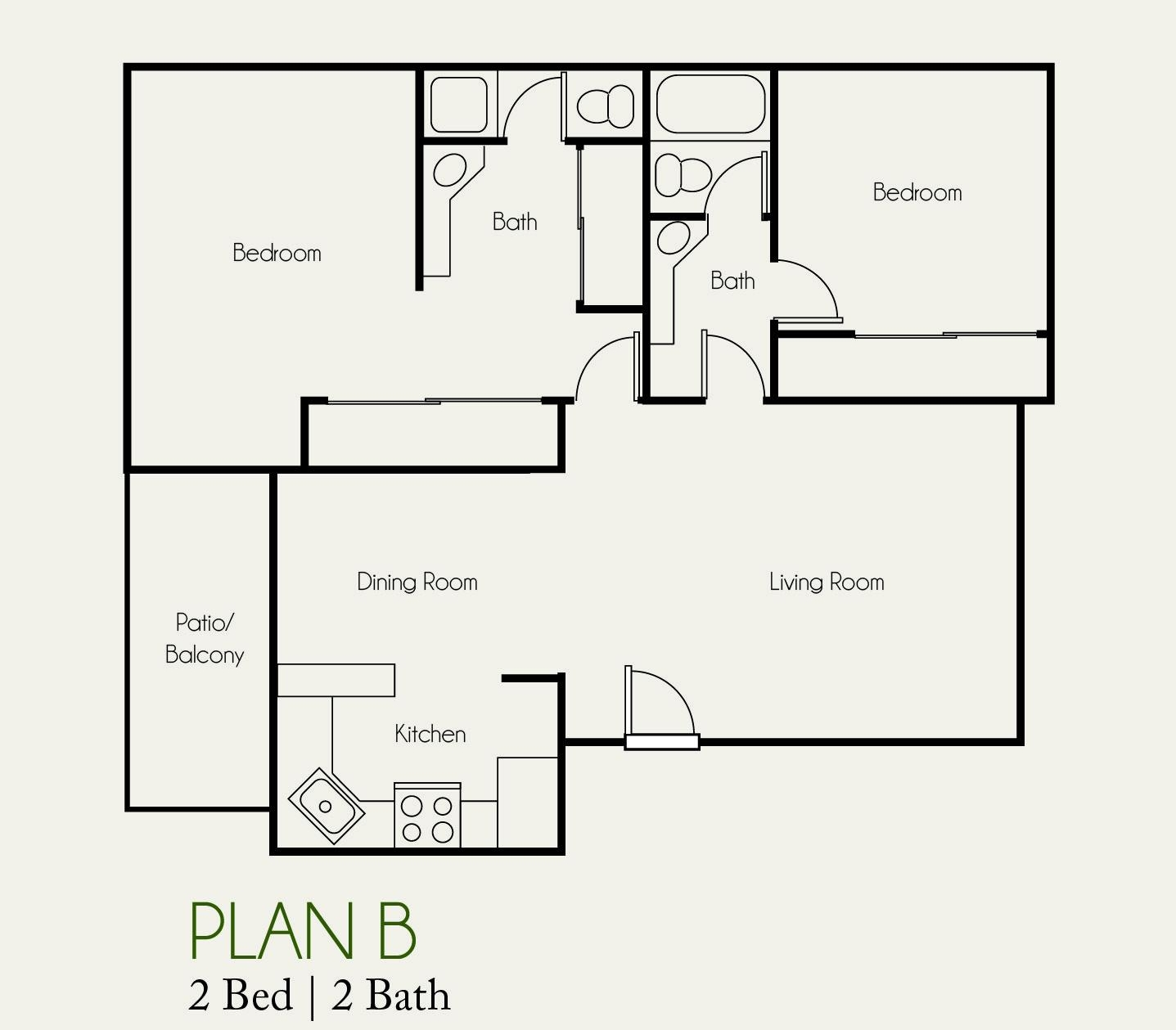 The Landing 2 bedroom | 2 bath plan