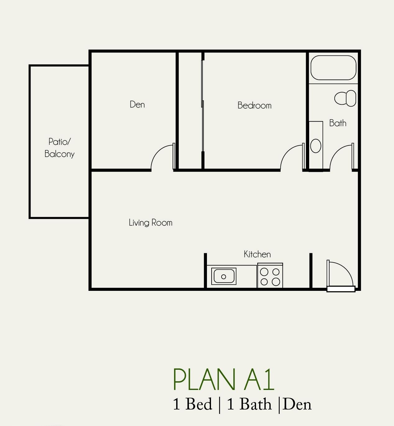 The Landing 1 bedroom | 1 bath plan