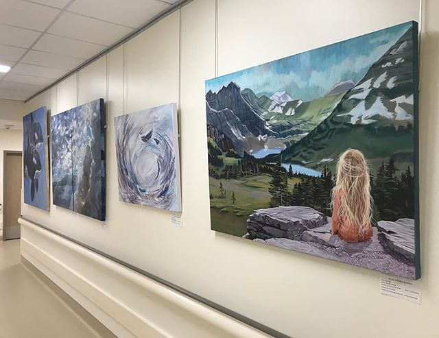 Painting is finished and on display for a while in the new hospital tower!  Hoping art on the walls is uplifting for those needing to spend some time there. #hospitalart #artinhospitals #okanaganartist #bcartist #artistsoninstagram