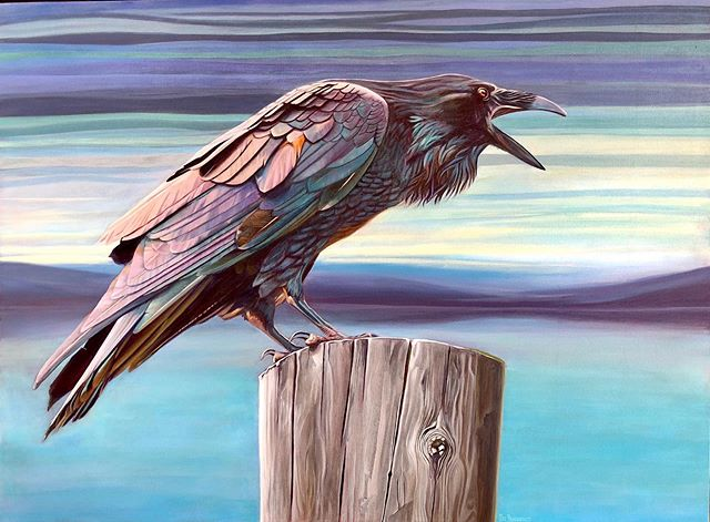 Honoured to have SOLD my Raven painting to a very nice man!  Kind of a happy sad moment.....but mostly happy 😀  A lot of heart goes into each painting!  #okanaganartist #bcartist #instartists #stillhavingfun #letspaintsomemore #ravens #summertime