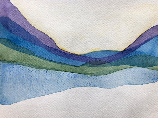 Abstract landscape fun 😀. Which do you prefer 1 or 2?? #watercolor #justforfun #anditisfun #happycanadaday #artistsoninstagram