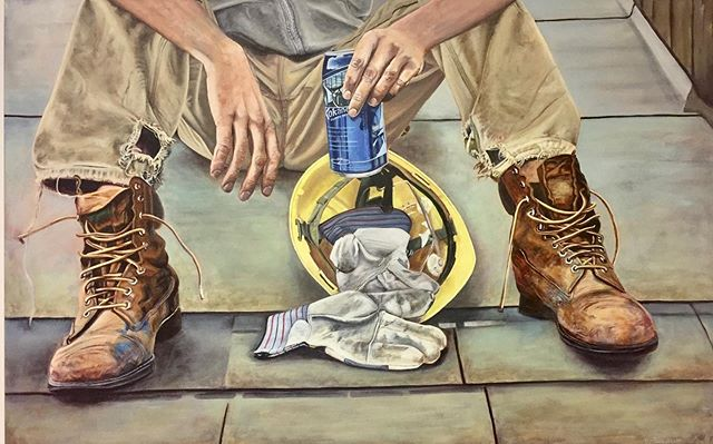 Just had our roof redone....reminding me of this painting of my son Scot kicking back after helping a neighbor with his roofing😀. #roofer #kokaneebeer #favouriteson #helpaneighbor #paintingfun #bcartist #acryliconcanvas #okanaganartist