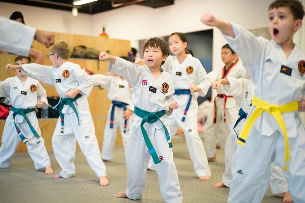 A typical Taekwondo class in Trifecta Martial Arts