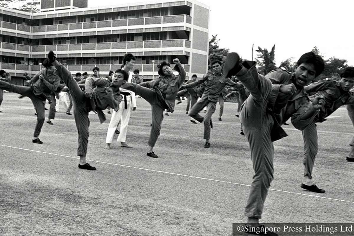 Taekwondo in action in National Service (1983). Credit : Straits Times