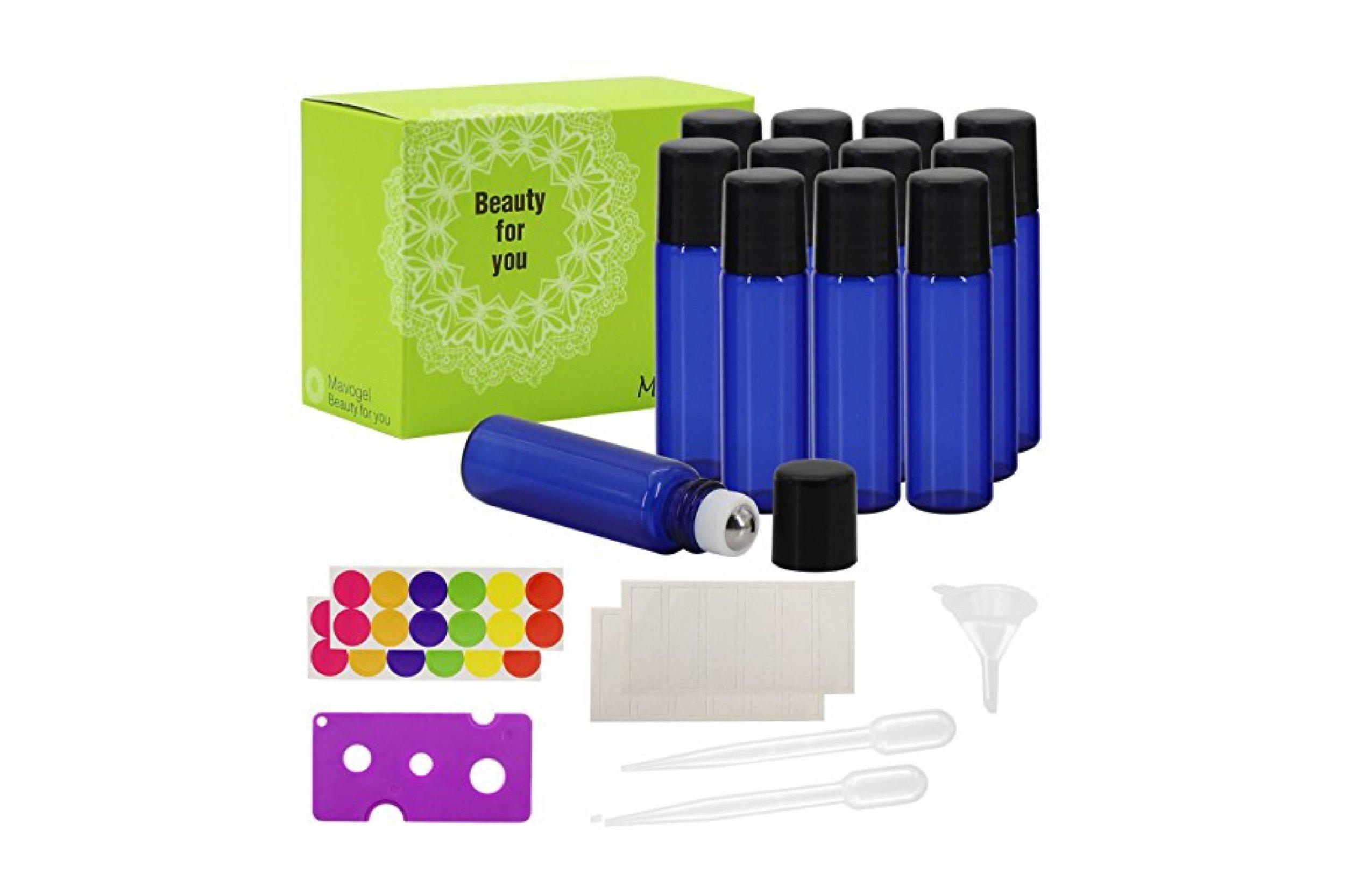 Glass Roll-on Bottles - 5 ml, 12 Pack, Cobalt Blue