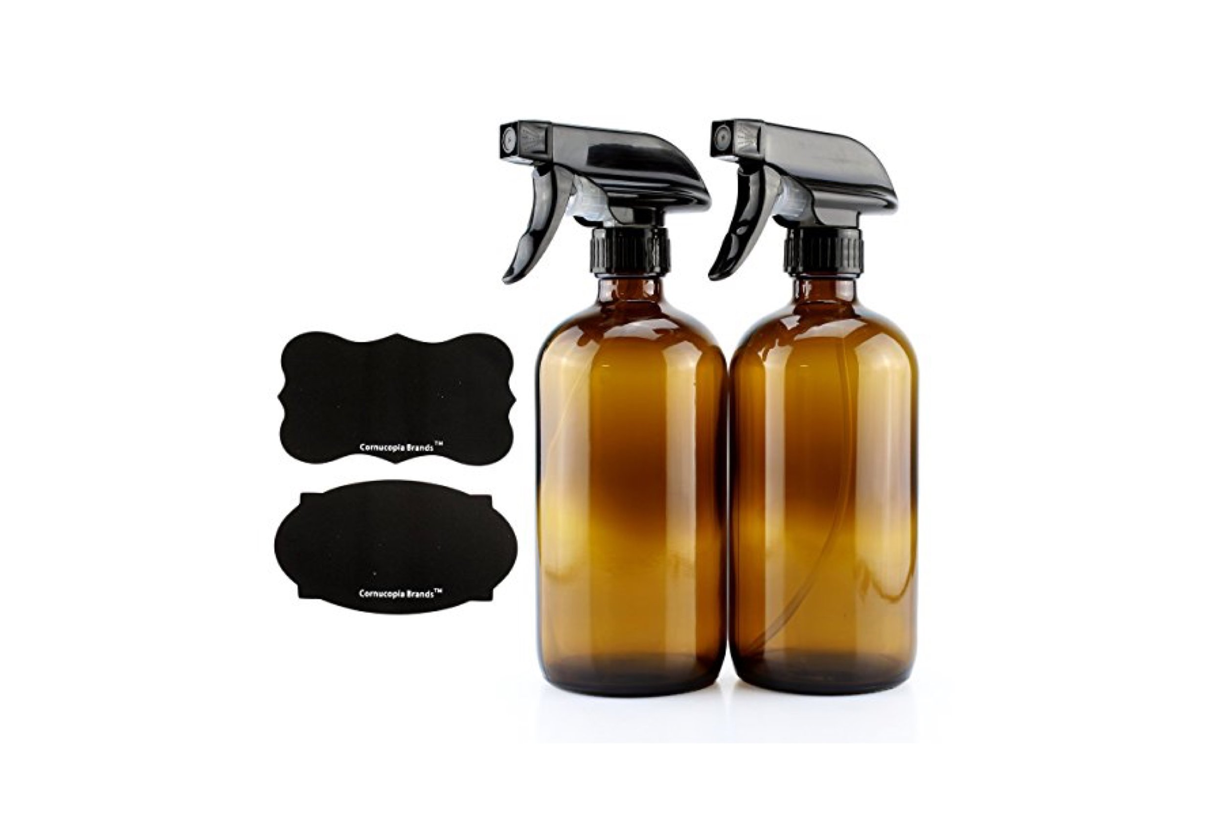 16-Ounce Amber Glass Spray Bottles w/Reusable Chalk Labels (2 Pack), Great for Essential Oils