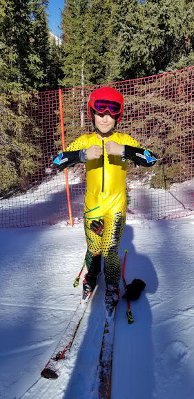 Charlie rocking the new SkierQuest Small Black Forearm Guards