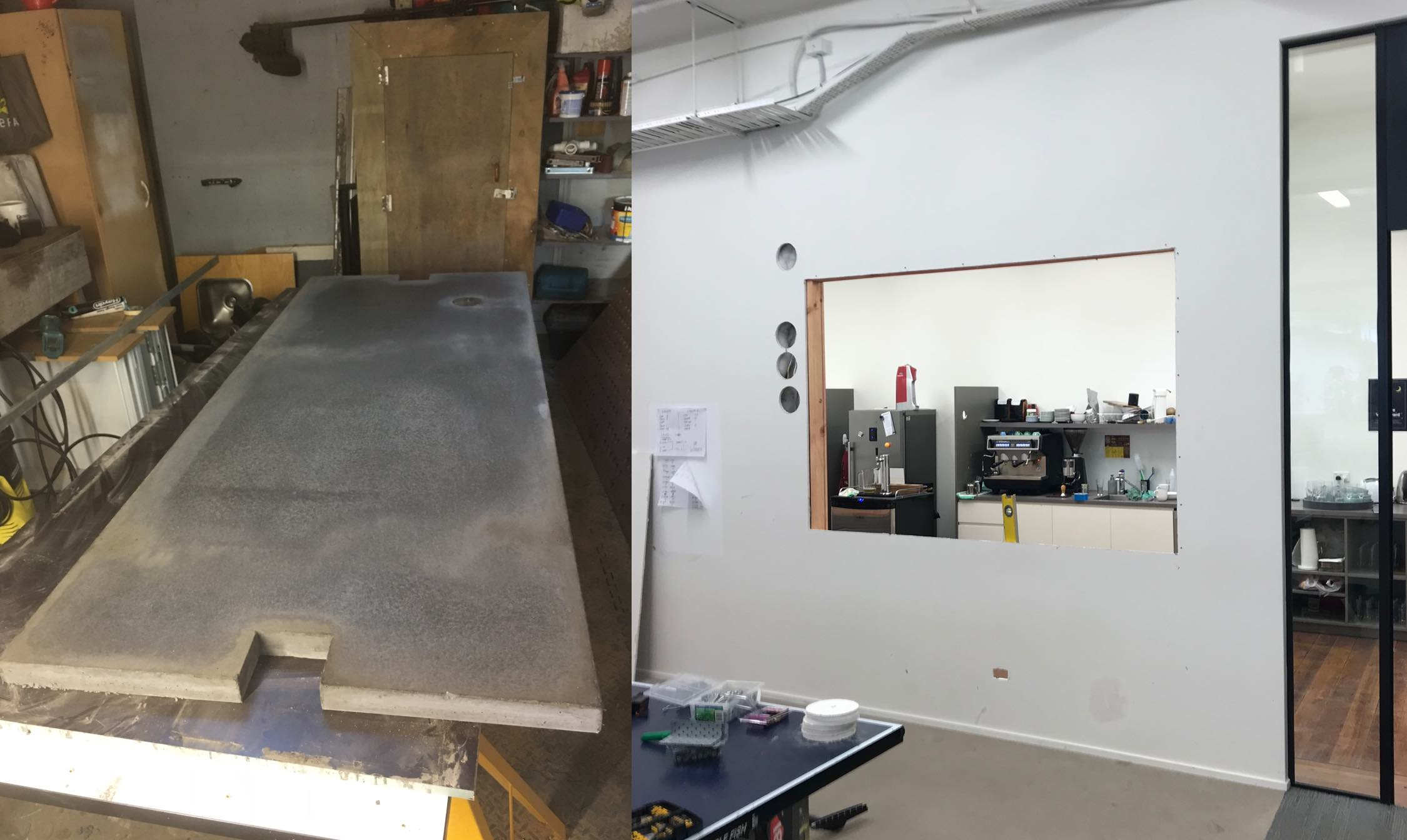 On the left:  you see our concrete slab getting polished.  On the right:  a large hole.