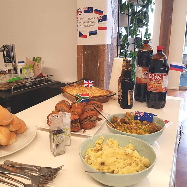 Eats not the first time, and definitely not the last… Pixel Fusion's International Potluck Lunch 2019 - dine and dusted 👌On Wednesday we all bought in a bunch of traditional dishes for everyone in the office to try: from boerriewors to knedliky to milk pudding - and what a feast it was! 🇦🇺🇦🇷🇨🇿🇬🇧🇲🇨🇷🇺🇿🇦🇪🇪🇭🇲 Terviseks! Na Zdrowie! Cheers! Yра! Salud!  #workfamily #lovewhereyouwork #potluck #lunch #pixelfusion #workhardplayhard