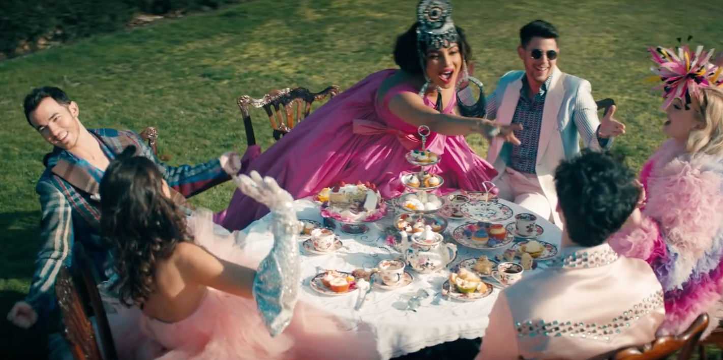 "A still from the Jonas Brothers' music video for ""Sucker."""