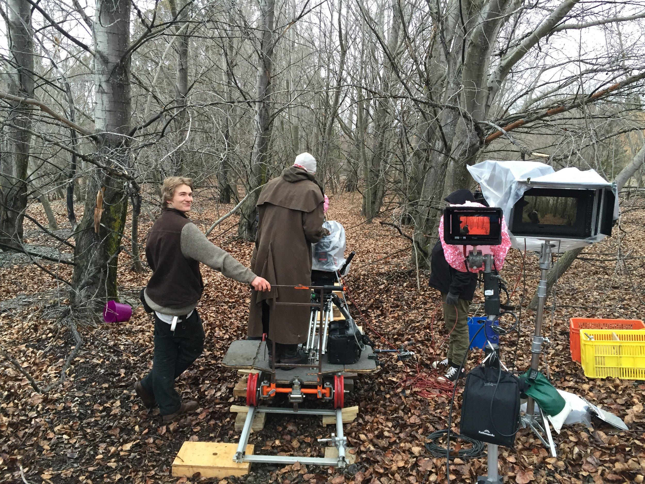 Key Grip Jimmy Bollinger, Cinematographer Ari Wegner, Lighting Technician Ash Bartlett
