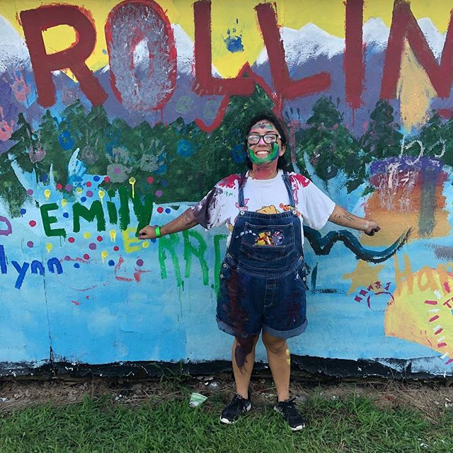 That moment when your camp group leader becomes the mural! #CDF2018
