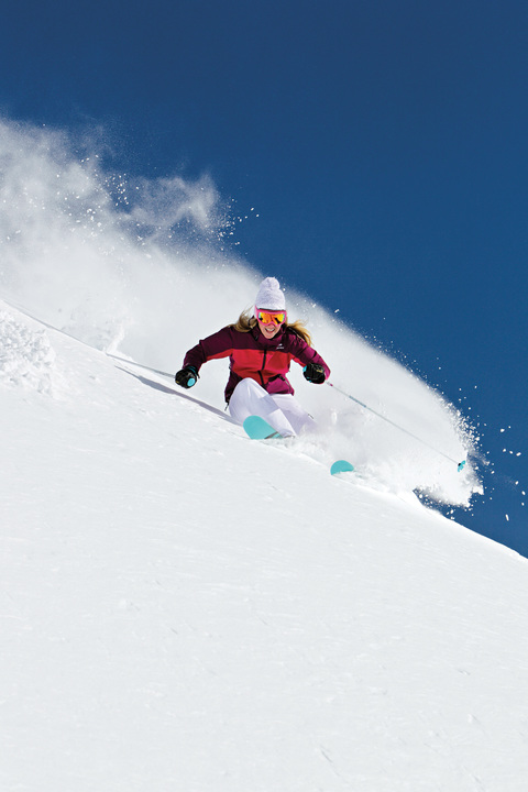 Let's not forget why we're here! Katie Van Riper rips it up at Snowbird.  Dan Campbell | courtesy Ski Utah