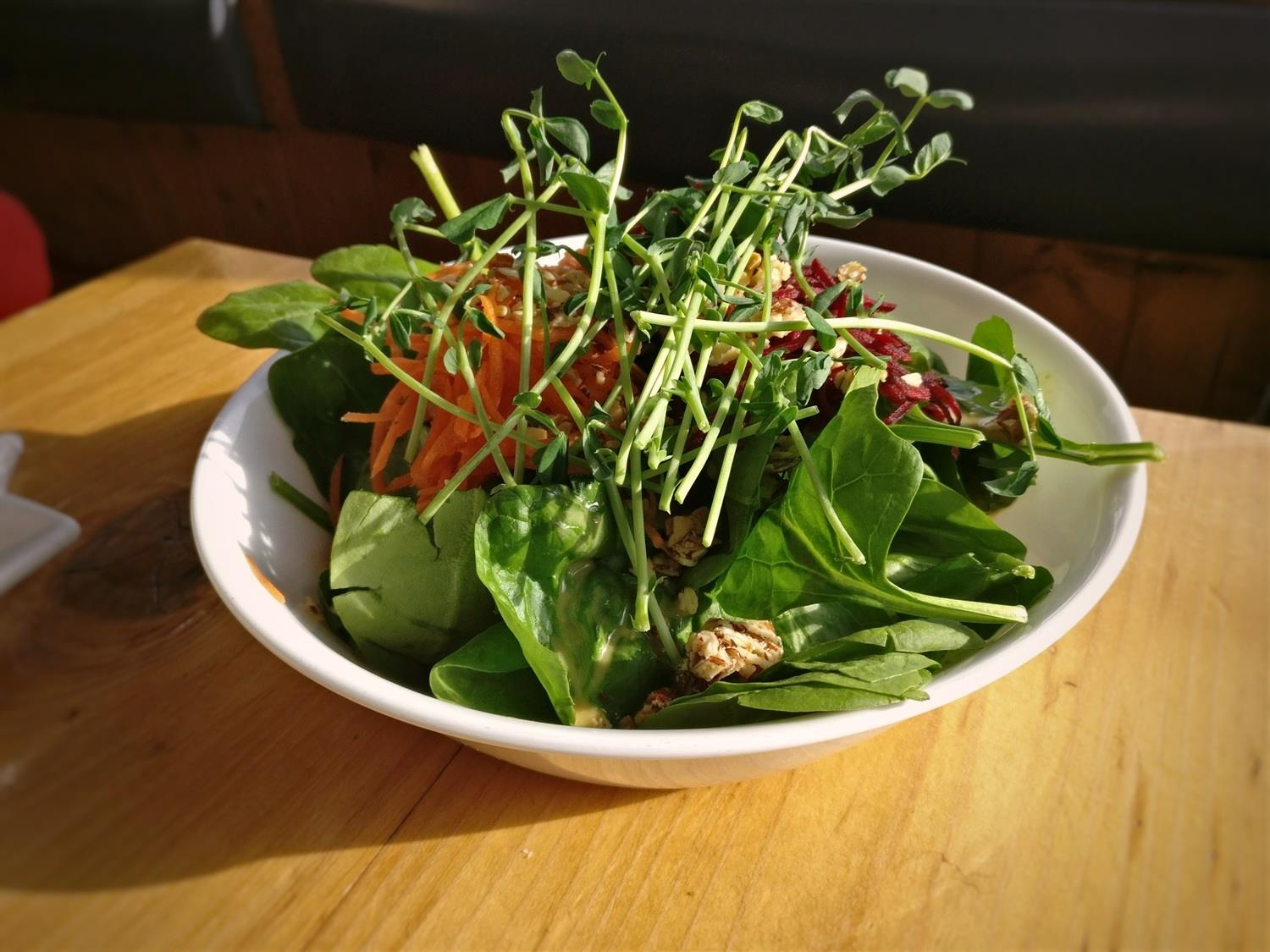 Eat your veggies! The Glory Bowl is among the most popular and enduring lunch items at  Whitewater Ski Resort  in Nelson, BC.  © Ski Travel Go