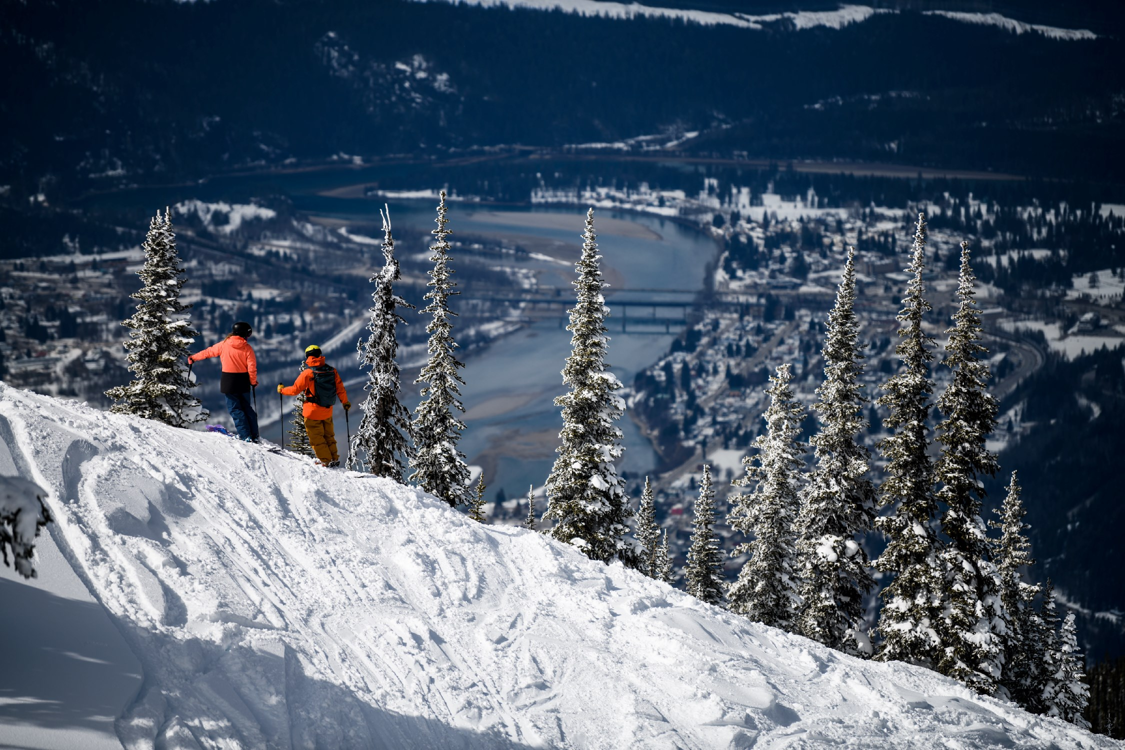 The City of Revelstoke lies along the banks of the mighty Columbia River, surrounded by truly big mountains. Also handy: Revelstoke holds the reported record for the Canadian location with single greatest amount of snowfall in any single winter (about 80 feet or 24 meters, in the winter of 1971-1972).  Andrew Strain | Courtesy Destination BC