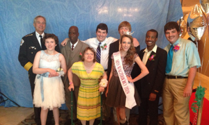 """Grace hanging out with an awesome group of TL Hanna students at the """"Come Dream With Me"""" prom!"""