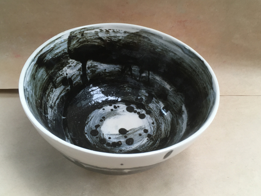 Black and White Salad Bowl - SOLD