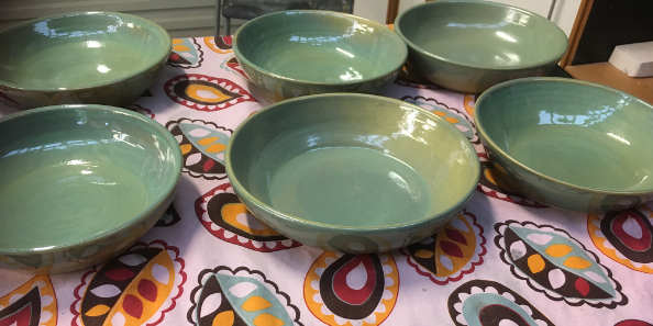 MORE BOWLS FOR THE PATCH..... - Just sold 6 (actually 7!) more bowls to the wonderful Rommell from The Patch cafe in Mullumbimby. I was excited to hear that two of the previous ones have been stolen! Should I have been excited? Probably not - but I was certainly chuffed that someone liked them so much they just had to have them!!