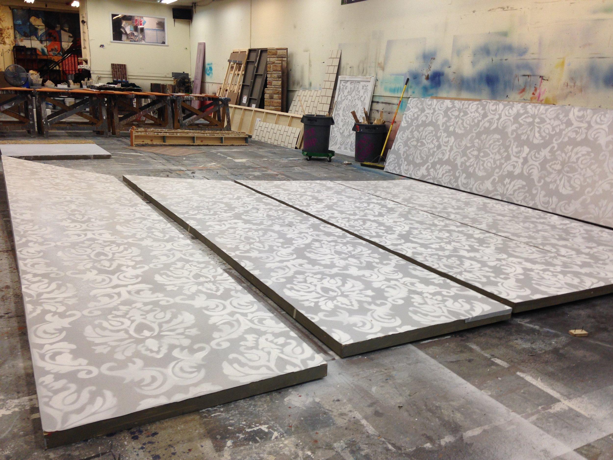 Stenciled Wallpaper on Tufback