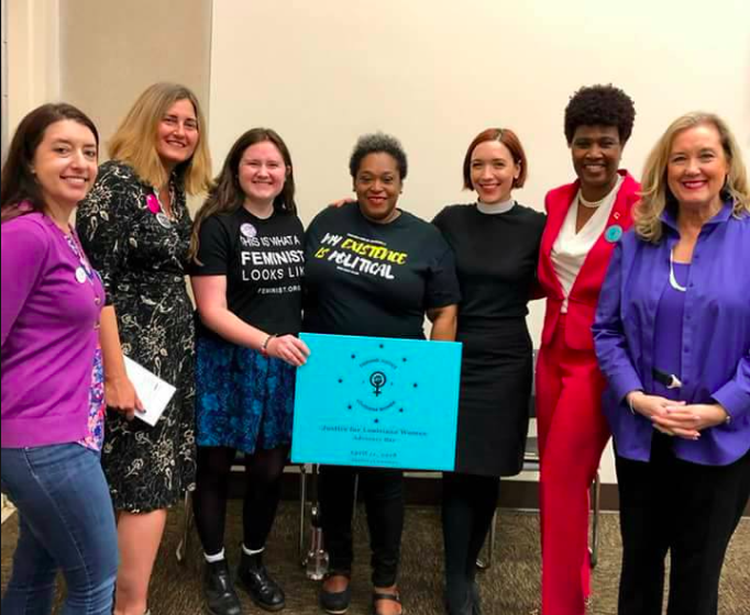 Executive Director Amy Irvin with our organizing partners from Lift Louisiana, Feminist Majority Foundation, Women with a Vision, Catholics for Choice, Planned Parenthood Gulf Coast, & the National Center for Jewish Women LA (left to right).