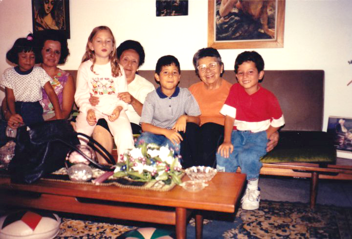 posing for the camera with family in Los teques, Venezuela, 1992.