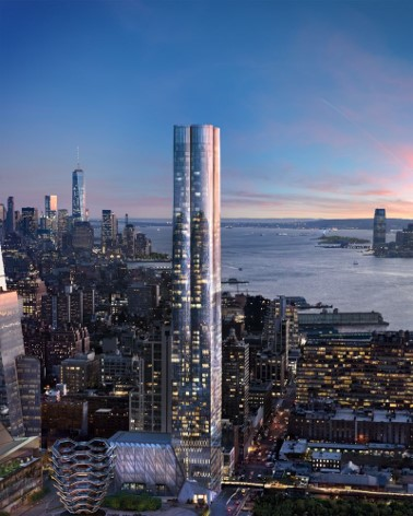 Introducing the first residences at Hudson Yards, offering a distinctive living experience – tailored design with five residence types and two design palettes, unparalleled amenities, a gracious lobby located directly on the Public Square and Gardens and breathtaking Hudson River views – all just moments from the creative energy of West Chelsea. Designed by Diller Scofidio + Renfro in collaboration with Rockwell Group,  Fifteen Hudson Yards ' 88-story tower features an elegant silhouette, formed by four graceful arcs of glass, located on the High Line and adjacent to The Shed – New York's forthcoming center for artistic invention.  2 bed starts at $3.875M  3 bed starts at $6.43M   4 bed starts at $11.88M