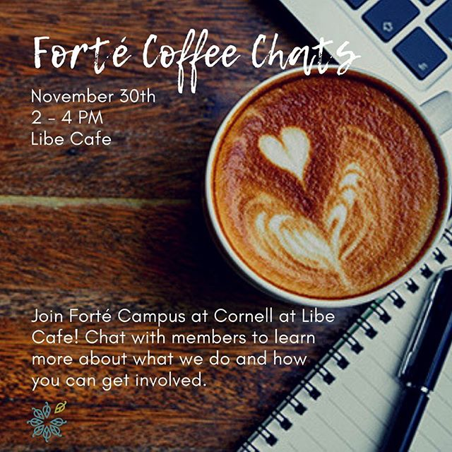 Get to know Forté! We are hosting coffee chats this Friday November 30th from 2-4pm in Libe Cafe for anyone interested in learning more about how to get involved and meeting our members. Super casual event and grab some coffee if you stop by! ☕️