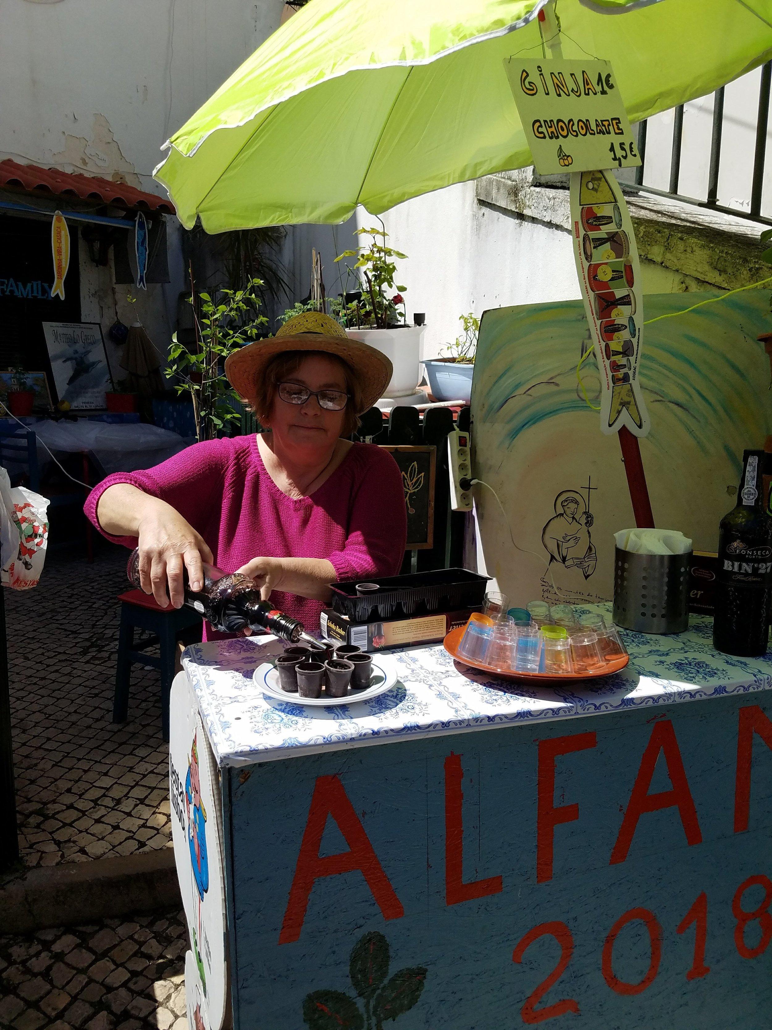 lisbon lisboa portugal ginja shots drinking