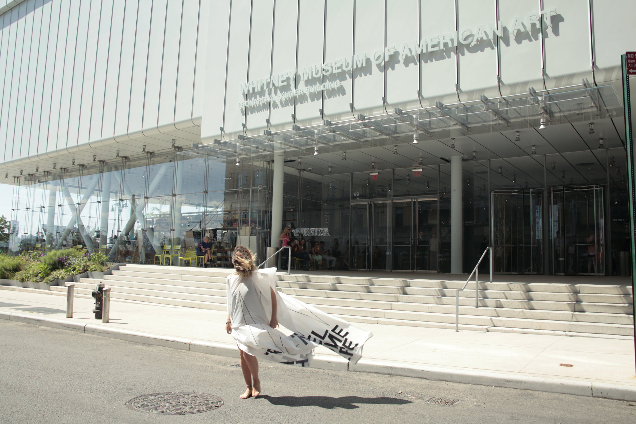 Feel Home Here; Feel Local Here, Feel New York Here.  Performance at the entrance of the Whitney Museum of American Art, New York.2018
