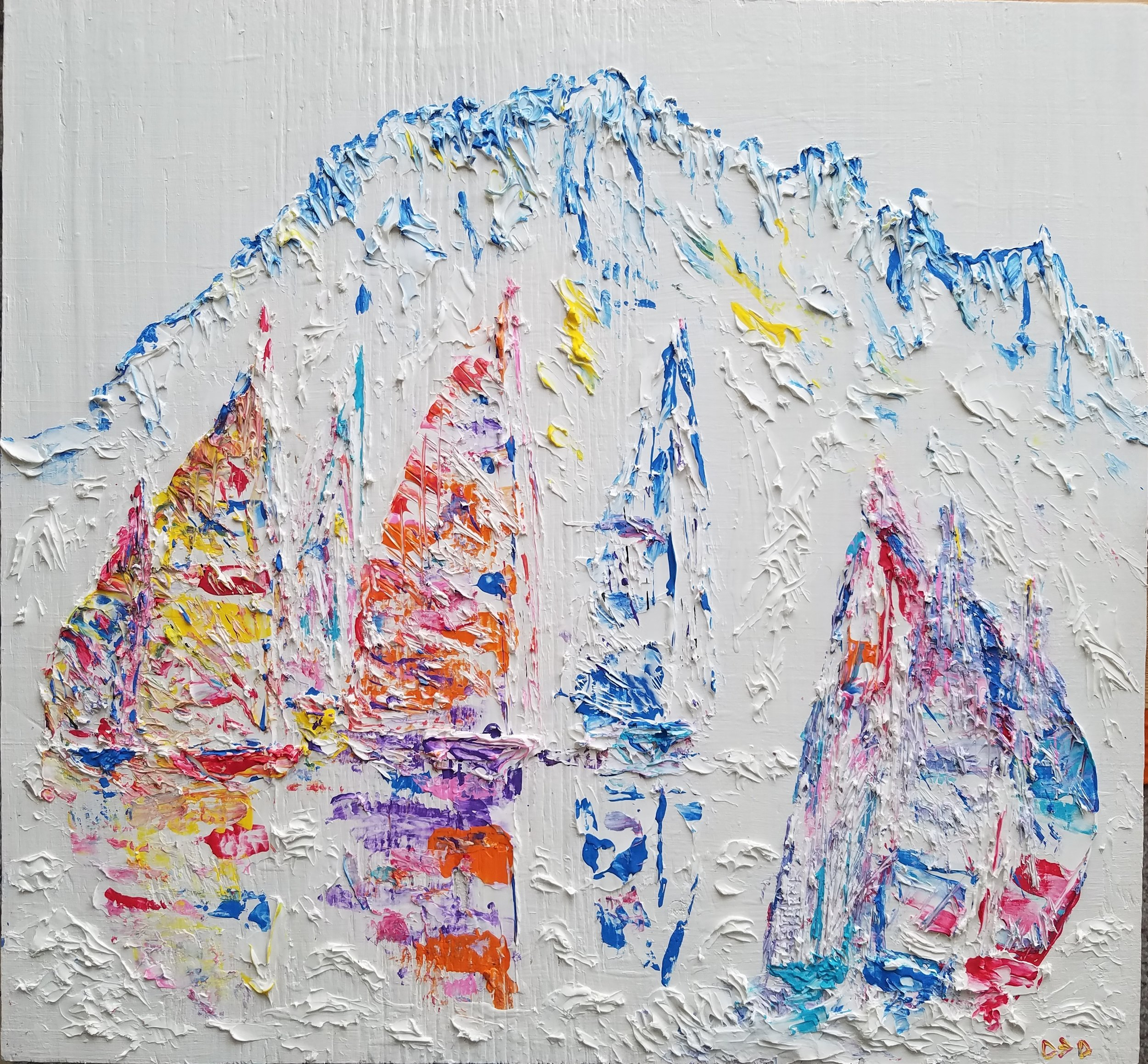 YACHT RACE AT CAPE HORN  Oil acrylic on wood 17 1/16 x 19 1/2""