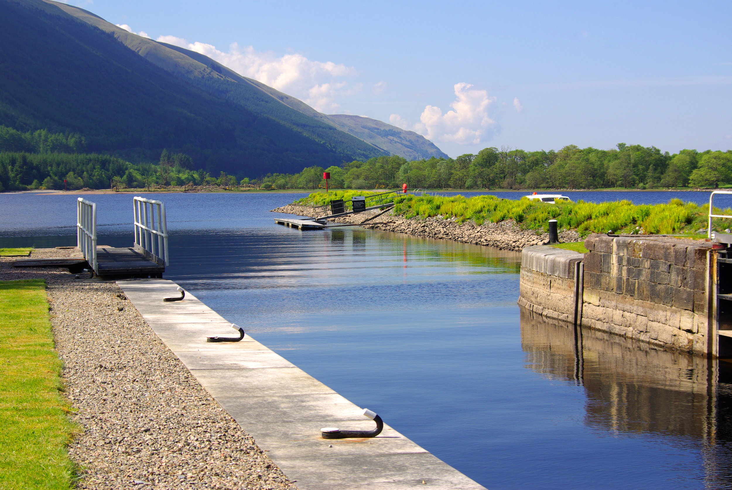 The eastern end of Loch Lochy as seen from the lower lock at Laggan Locks (2 minutes from Andorina's mooring)