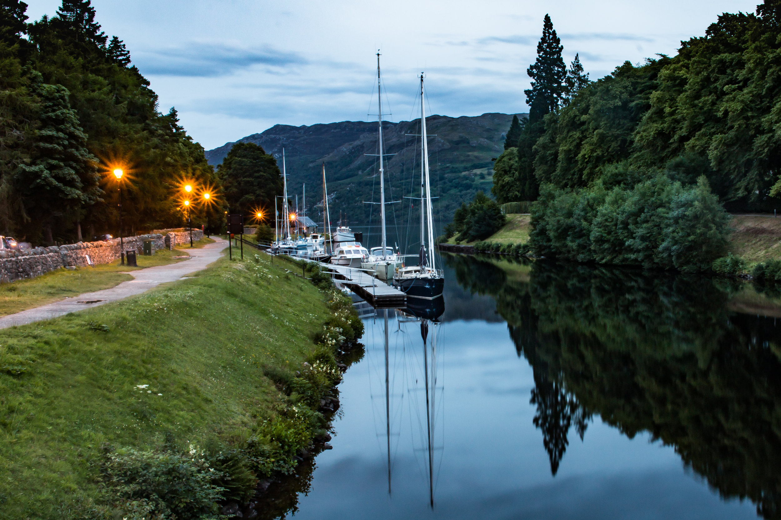 The lower Caledonian canal at Fort Augustus. In the background is the eastern end of Loch Ness. Fort Augustus is approx. 15 minutes drive from Laggan Locks.