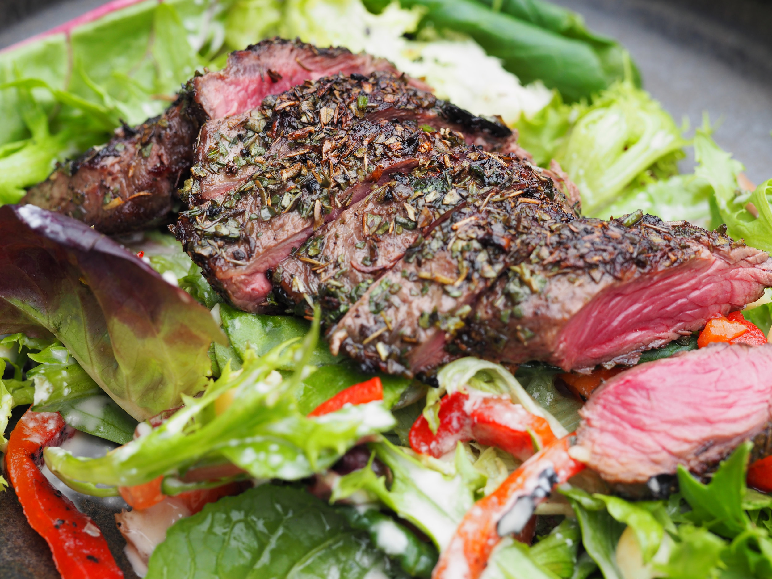Roo fillet salad  with native thyme and saltbush roo fillet and a lemon myrtle and fingerlime dressing.