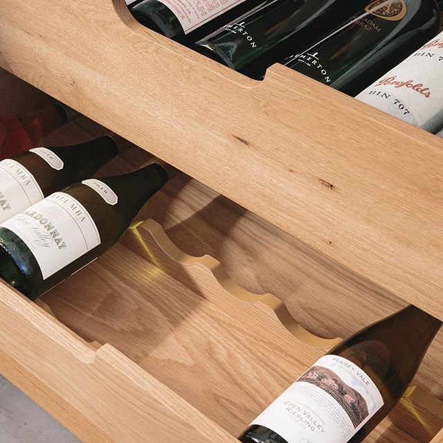 Perfect detail for a Sunday afternoon. Custom designed wine drawer at our recently completed Queens residence. Finely crafted by @blank_joinery from solid American Oak. . Builder @insyncprojects . . . Photography @bryndonkersloot . . . #higginbothamstudio #interiordesign #homedecor  #houses #australiandesign #avalonbeach #archdaily #architecturephotography #home #house #homedesign #architect #australianinteriors #building #renovation #interiors #housedesign #sydneyarchitecture #australianhomes #travel #residentialarchitecture #sydneyhomes #moderndesign #architects #photooftheday #garden #homeimprovement #sunday #refurbishment