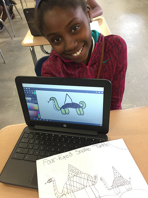 This fifth-grader is doing a fantastic job using a ChromeBook to translate her drawing into digital art, as part of a story-telling lesson. The unit connects English Language Arts with Visual Art and Media Arts. (2017)