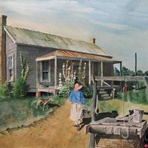 Bud Harris  Woman Fetching Water, Watercolor