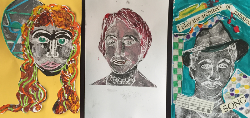 Monoprint Portraits - Make many or make one: they'll be both similar and different at the same time.