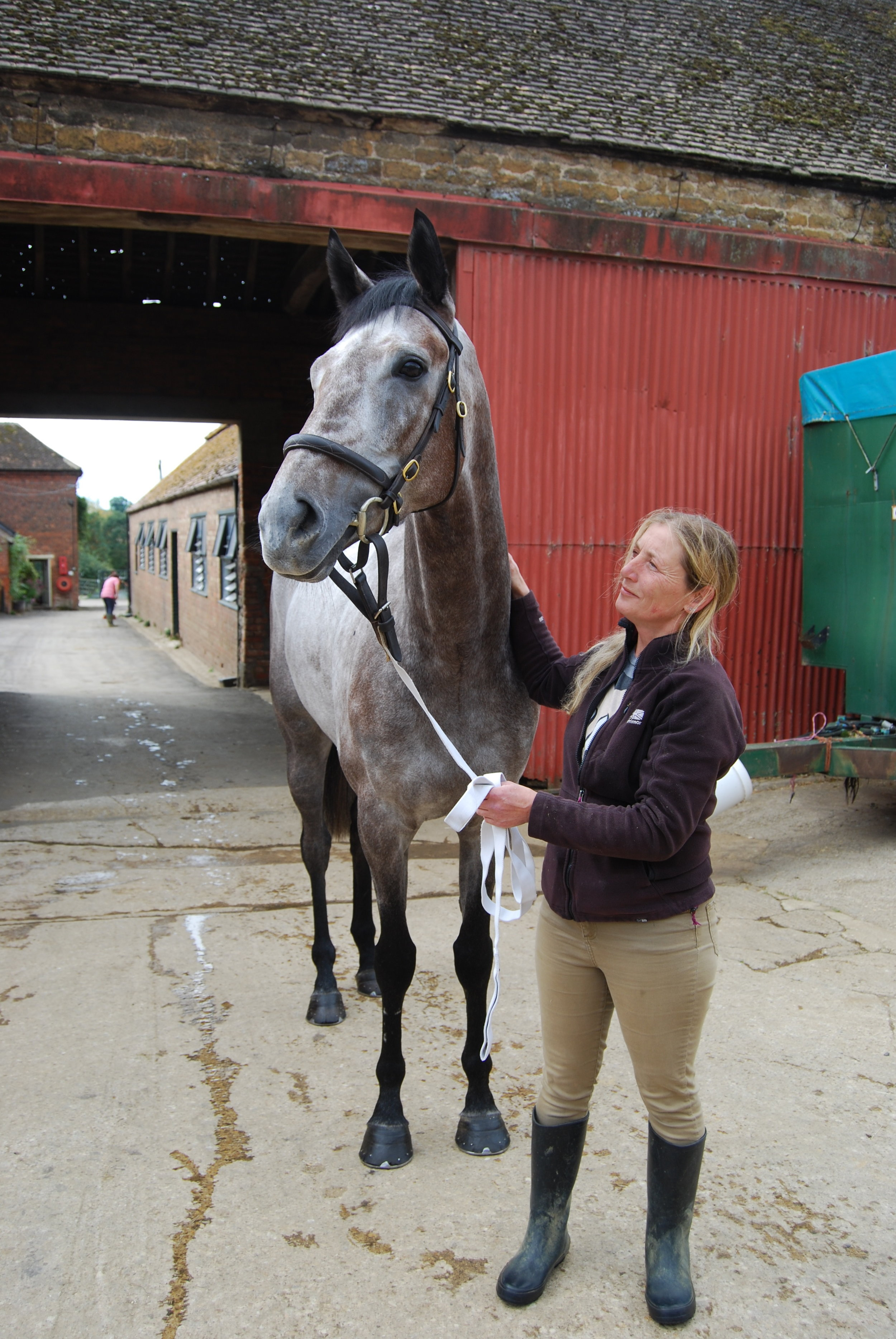Starjac and Gail outside the stables.