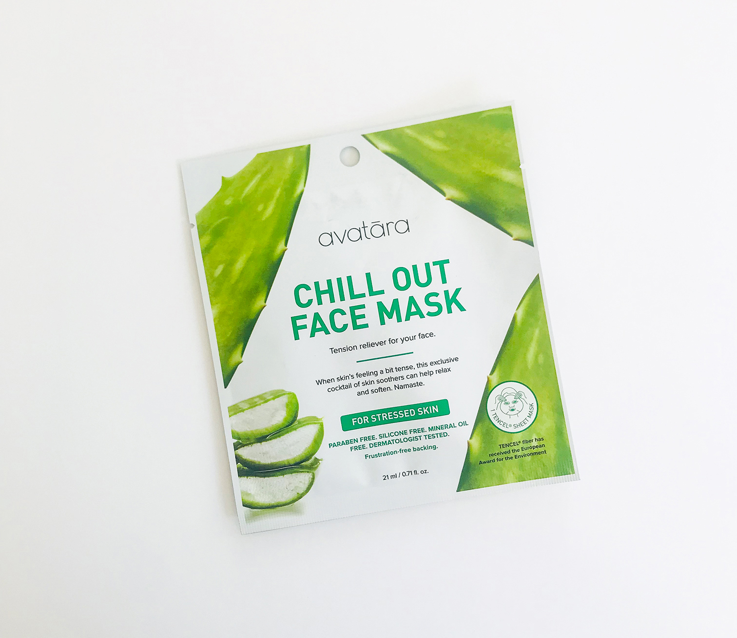 Chill Out Face Mask - FOR STRESSED SKINTension reliever for your face.When skin's feeling a bit tense, this exclusive cocktail of skin soothers can help relax and soften. Namaste.PARABEN FREE, SILICONE FREE, MINERAL OIL FREE, DERMATOLOGIST TESTED.R70 - AV003